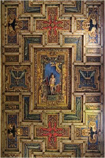 4  soffitto ligneo intagliato dal Vasanzio dove al centro c'è l'immagine di San Sebastiano